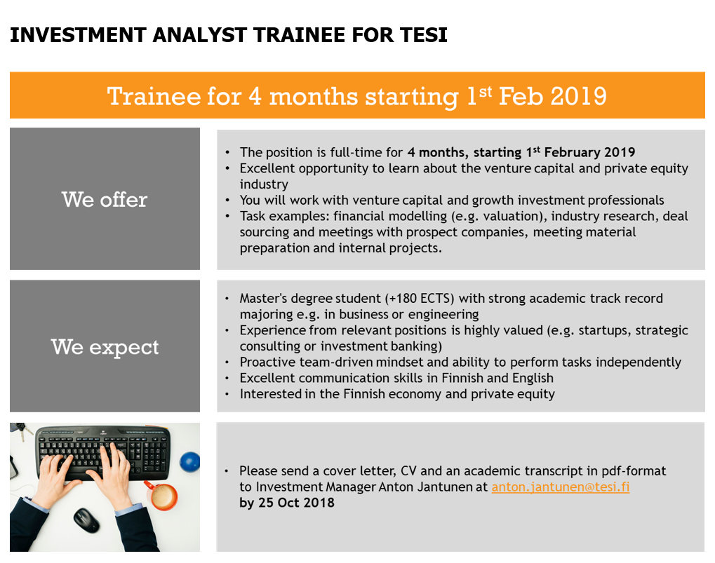 We are looking for a full-time INVESTMENT ANALYST TRAINEE for spring ...